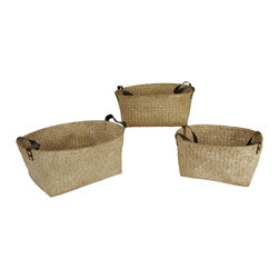 None - Woven Seagrass Nesting Basket with Handles (Set of 3) - These attractive containers are woven from soft seagrass-reed and carry a white wash finish. Each basket has stylish brown faux leather side handles. These baskets are perfect for use as storage and organization for household items.