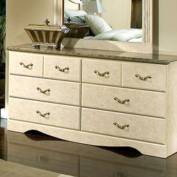 Standard Furniture - 6-Drawer Dresser w Faux Stone Top for Easy Cl - Intricate carvings and interesting detail throughout create simple elegance. Cast metal hardware with a simulated bronze finish. Cast metal adornments on headboard feature a distinctive simulated bronze finish. Beautiful simulated Jura Block finish gives the appearance of a fine light colored marble. Rich faux stone color tops present attractive, easy-to-clean surfaces. French dovetail construction throughout enhances durability. Roller side drawer guides provide ease and convenience. Top drawers are felt lined to protect delicate items. Quality wood products bonded together creates durable construction throughout. Surfaces clean easily with a soft cloth. Products may contain some plastic parts. Has six drawers which allow generous storage space. Available with Optional Mirror. 16 in. W x 58 in. L x 30 in. H (122 lbs.)Florence, by Frisco Manufacturing, features an inviting look through the combination of contemporary class and traditional style.