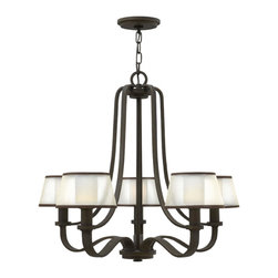 Hinkley - Hinkley-4965OB-Prescott - Five Light Chandelier - The Prescott collection offers a unique modern/vintage feel with a traditional frame, knob detail and wide tubing. A wide, low-profile organza shade surrounds the etched opal inside glass, infusing transitional design elements to create the perfect balance between classic and contemporary. Canopy Included.  Canopy Diameter: 5.50 CUS Certification: Yes  Olde Bronze Finish with Etched Opal Glass with Organza Shade  Lamp Quantity: 5  Lamp Type: Candelabra  Wattage: 60  Voltage: 120  Wire Length: 72.00  Chain Length: 60.00  Material: Steel