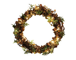 The Firefly Garden - Acorn Shimmer - Illuminated Floral Design - Acorn Shimmer is a glimmering wreath combining the deep textures and hues of acorns and pine cones with brilliant, illuminated branch work. This lighted holiday wreath makes a lovely door or window accent, as well as a table centerpiece for celebrations.