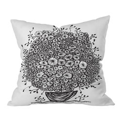 DENY Designs - Julia Da Rocha Bouquet Of Flowers 1 Throw Pillow, 26x26x7 - Talk about miracle grow! This spunky black and white print almost bursts right off the pillow. If only all your houseplants did as well!