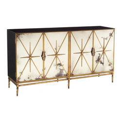 Kathy Kuo Home - Adalyn Hollywood Regency Antique Mirror Gold Black 4 Door Sideboard - We love the edgy luxury that this four door cabinet delivers.  From the black glass top all the way down to the spiral twisted, antique gold feet, this piece proves that rich doesn't have to mean stuffy or precious.  Topping it all off, the artfully distressed feeling of foxed mirror paired with the gold metal detailing creates an alternative take on elegance, reminiscent of raw diamonds and Rick Owen's leather pieces.