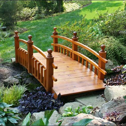 """Fifthroom - 4' Red Cedar Eden Half Picket Rail Bridge - Our beautiful Eden Double Rail Bridge will make yours a garden of earthly delights. Hand-crafted with old-world skill from solid western red cedar, it is 36"""" across, and features a stunning picket fence design along the bottom rail. Its natural durability and resistance to rot and decay provide protection from the harshest weather, so it will remain the apple of your eye for years to come."""