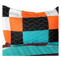 Blancho Bedding - [Minor Cause] Vermicelli-Quilted Patchwork Geometric Quilt Set Full/Queen - The [Minor Cause] 100% TC Fabric Quilt Set (Full/Queen Size) includes a quilt and two quilted shams. This pretty quilt set is handmade and some quilting may be slightly curved. The pretty handmade quilt set make a stunning and warm gift for you and a loved one! For convenience, all bedding components are machine washable on cold in the gentle cycle and can be dried on low heat and will last for years. Intricate vermicelli quilting provides a rich surface texture. This vermicelli-quilted quilt set will refresh your bedroom decor instantly, create a cozy and inviting atmosphere and is sure to transform the look of your bedroom or guest room. (Dimensions: Full/Queen quilt: 90.5 inches x 90.5 inches; Standard sham: 24 inches x 33.8 inches)