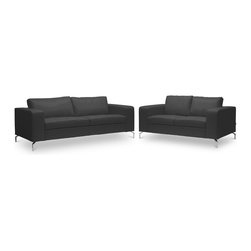 "Baxton Studio - Baxton Studio Lazenby Black Leather Modern Sofa Set - Our Lazenby Sofa Set is an urban gem: with sleek lines and versatile simplicity, it�۪s an instant winner in our book. The Lazenby Designer Sofa Set�۪s sofa and loveseat are made in China with sturdy, solid Dahurian Larch wood frames. S-springs and pocket springs underneath polyurethane foam provide comfort while black bonded leather and chrome-plated steel legs give the contemporary sofa set an unmistakable urban appeal. Maintenance is fast and simple: simply wipe the surfaces with a damp cloth before using a dry cloth to wipe away any remaining moisture. The Lazenby Sofa Set is also available in cream leather or as an L-shaped sectional sofa (each sold separately). Minor assembly is required. Sofa 89""W x 24""D x 36""H , seat'sion: 71.25""W x 20.5""D x 20.25""H, loveseat'sion:70.8""W x 35""D x 36""H ,seat'sion: 52.25""W x 20.5""D x 20.25""H, arm height: 27"""