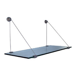 "Expo Design Inc - Cable Shelf Kit, 10""x36"" - 10"" x 36"" x 3/8"" thick tempered glass shelf pre packaged with a set of Cable Shelf Brackets."