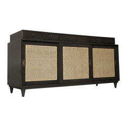 Noir - Noir - Hermosa Sideboard - Mahogany wood sideboard with Pale finish.  Three interior spaces with sliding rattan doors.  Each space has an adjustable shelf.