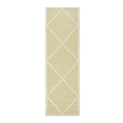 """Safavieh - Babette Hand Tufted Rug, Light Green / Ivory 2'6"""" X 8' - Construction Method: Hand Tufted. Country of Origin: India. Care Instructions: Vacuum Regularly To Prevent Dust And Crumbs From Settling Into The Roots Of The Fibers. Avoid Direct And Continuous Exposure To Sunlight. Use Rug Protectors Under The Legs Of Heavy Furniture To Avoid Flattening Piles. Do Not Pull Loose Ends; Clip Them With Scissors To Remove. Turn Carpet Occasionally To Equalize Wear. Remove Spills Immediately. Bring classic style to your bedroom, living room, or home office with a richly-dimensional Safavieh Cambridge Rug. Artfully hand-tufted, these plush wool area rugs are crafted with plush and loop textures to highlight timeless motifs updated for today's homes in fashion colors."""