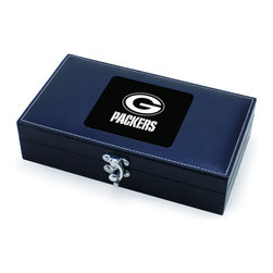 """Picnic Time - Green Bay Packers Syrah Five-Piece Box Set Of Wine Accessories in Black - The Syrah is a five-piece box set of wine accessories that is a welcome addition to anyone's wine bar. It includes 1 stainless steel waiter-style corkscrew, 1 drip ring, 1 wine thermometer, 1 foil cutter, and 1 pourer/bottle stopper. The box measures 8-3/4"""" x 4-29/32"""" x 2-1/8"""" and is made of black premium leatherette with white accent stitching. The Syrah makes a thoughtful gift for your wine-loving friends.; Decoration: Engraved; Includes: 1 stainless steel waiter-style corkscrew, 1 drip ring, 1 wine thermometer, 1 foil cutter, and 1 pourer/bottle stopper"""