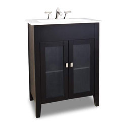 Elements - Elements Eberly Bath Vanity 28-1/8 Inch x 18 Inch x 35-3/4 Inch - Elements 28 1/8 Inch wide MDF (Medium-density fibreboard) vanity features a clean modern design with clear ribbed glass inserts in the door fronts and a sleek black finish. A large cabinet with a fixed shelf allows for ample storage. Elements vanity has a 2CM white porcelain top and integrated rectangular bowl preassembled holes cut for 8 Inch faucet spread that requires a pop up assembly without overflow. Overall Measurements: 28 1/8 Inch x 18 Inch x 35 3/4 Inch (measurements taken from the widest point) Finished in Painted Black Material: MDF (Medium-density fibreboard) Style: Transitional Coordinating Mirror(s): MIR036 MIR049 MIR058 Bowl: 2CM Integrated Porcelain Top/Bowl Coordinating Hardware: 81021SN  Replacement Glass: VGLASS 02 VGLASS 03 VGLASS04