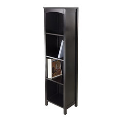 "Winsome Wood - Winsome Wood Terrace Terrace Storage Shelf 5-Tier in Espresso Finish X-61529 - Terrace Storage Shelf / Bookcase Collection is perfect to use alone or pair with baskets and create a place for your goodies.  This 5-Tier Shelf has overall size of 14.5""W x 11.8""W x 56""H.  Top is 14.49""W x 11.81""D.  Top shelf is 12.05""W x 10.63""D x 12.80""H and all other shelves is 12.32""H.  Constructed from combination of solid and composite wood in Dark Espresso finish.  Assembly Required."