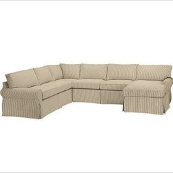 """PB Basic Left 4-Piece Chaise Sectional Slipcover, Ticking Stripe Brownstone - Designed exclusively for our PB Basic Sectional, these easy-care slipcovers have a casual drape, retain their smooth fit, and remove easily for cleaning. Select """"Living Room"""" in our {{link path='http://potterybarn.icovia.com/icovia.aspx' class='popup' width='900' height='700'}}Room Planner{{/link}} to select a configuration that's ideal for your space. This item can also be customized with your choice of over {{link path='pages/popups/fab_leather_popup.html' class='popup' width='720' height='800'}}80 custom fabrics and colors{{/link}}. For details and pricing on custom fabrics, please call us at 1.800.840.3658 or click Live Help. All slipcover fabrics are hand selected for softness, quality and durability. {{link path='pages/popups/sectionalsheet.html' class='popup' width='720' height='800'}}Left-arm or right-arm configuration{{/link}} is determined by the location of the arm on the love seat as you face the piece. This is a special-order item and ships directly from the manufacturer. To view our order and return policy, click on the Shipping Info tab above."""