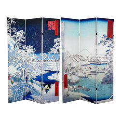 Oriental Furniture - 6 ft. Tall Double Sided Hiroshige Room Divider - Drum Bridge/River Bank - Two of ukiyo-e artist Hiroshige's snowy winter scenes adorn this beautiful folding screen. On one side, barges bob in the freezing waters outside Edo Castle, porters carry their loads the Sukiya Gate, and the snow-capped Mount Fuji rises in the distance. On the other side, Buddhist pilgrims brace themselves against the falling snow as they cross an icy bridge on the way to the famed Meguro Fudo temple. Printed in high definition with vivid color, this striking room divider will bring the serene beauty of winter and the refined style of Japanese art to your home or business.