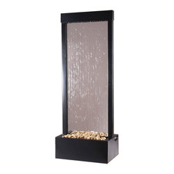 BluWorld of Water - Tall Floor Fountain  (Dark Copper) - Choose Frame: Dark Copper. Suitable for indoor and outdoor use. Tempered glass panel. Polished river rocks. Quiet submersible pump. No assembly required. 18 in. W x 12 in. D x 48 in. H (30 lbs.)48 in. H floor fountain. Clear glass and center mounted Black Onyx frame. With the Gardenfall, it's easy to enjoy the soothing sights and sounds of water falling gently passed polished river rock year-round. Designed for today's decors, its clean, contemporary design enriches any space, while its humidifying and air-cleansing properties promote a healthier living environment. Features a clear glass surface and black frame. Quiet operation and durable materials make the Gardenfall suitable for both indoor and outdoor use.