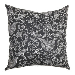"""The Pillow Collection - Alaine Paisley Pillow Black White 20"""" x 20"""" - Charming and elegant, this decor pillow looks elegant in any setting. Constructed of 100% cotton fabric, which is easy to maintain and clean. The soft material makes your living room or bedroom more inviting and relaxing. This square pillow features a gorgeous paisley print in shades of white and set against a black background. Mix and match with solids and other patterns. Hidden zipper closure for easy cover removal.  Knife edge finish on all four sides.  Reversible pillow with the same fabric on the back side.  Spot cleaning suggested."""