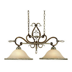 AF Lighting - AF Lighting Wentworth Traditional Kitchen Island Light X-H2-6294 - Twisted rope detailing finished in Pewter adorns the tiered frame and the edges of the two cream alabaster glass diffusers on this AF Lighting kitchen island light. From the Wentworth Collection, this traditional ceiling light features beautiful ribbon-like scrolls, delicate curls and Bronze Crackle finishing.