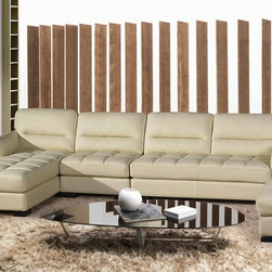 The Carbonia Leather Sectional SF803 - This Italian leather sectional features 4 distinct pieces including the ottoman.