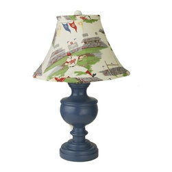 Baseball Theme Lamp - Light up your child's room with this custom baseball shade and classic urn lamp in our popular federal blue. He's going to think it's a homerun.