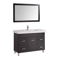 """Legion Furniture - 48 Inch Transitional Single Sink Bathroom Vanity - This 48 inch Transitional Single sink bathroom vanity is a perfect center piece for your bathroom project.  This Espresso (Dark Brown, Can Appear Black in Certain Lighting) bathroom vanity features 1 Door, 4 Drawers; Soft Close Hinges and Guides , and a White Ceramic with Integrated Sink counter top with a Integrated White Ceramic sink that is Pre-Drilled for Single Hole Faucet (Included). Large opening in back for easy plumbing installation.  Dimensions: 48""""W X 18""""D X 34""""H (Tolerance: +/- 1/2""""); Counter Top: White Ceramic with Integrated Sink; Finish: Espresso (Dark Brown, Can Appear Black in Certain Lighting); Features: 1 Door, 4 Drawers; Soft Close Hinges; Hardware: Brushed Nickel; Sink(s): Integrated White Ceramic; Faucet: Pre-Drilled for Single Hole Faucet (Included); Assembly: Light Assembly Required; Large Cut Out in Back for Plumbing; Included: Cabinet, Sink, Brushed Nickel Faucet, Mirror (47"""" W X 1""""D X 27.5""""H); Not Included: Backsplash"""