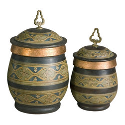 Uttermost - Billy Moon Cena Decorative Canisters - 2-Pc S - Designer: Billy Moon. Removable lids. Small: 7 in. W x 7 in. D x 13 in. H