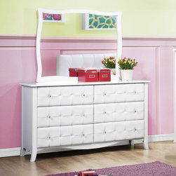 Homelegance - Homelegance Sparkle 6 Drawer Dresser w/ Mirror in White - The glamour girl in your life will swoon when she opens her bedroom door to the Sparkle Collection. Fashion forward and scaled to fit her needs  this trendy bedroom will make her the envy of all of her friends. White bi-cast vinyl is featured not only on the tufted headboard  but on the drawer fronts of each case piece and coordinating vanity and storage stools. Clear hardware is faceted for maximum sparkle and punctuates each drawer front. Matching vanity features a hidden mirror within the lift top storage area.