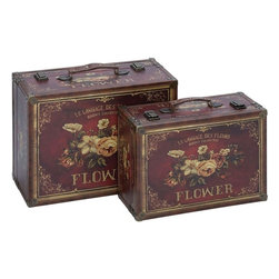 Benzara - Canvas Case with Gold Border on Canvas Cover - Set of 2 - Lend a classic touch to room settings with this elaborately designed Wood Canvas Case. The elegant, traditional travel trunk design of this case is sure to lend a captivating touch to room setups. This canvas covering is detailed with a dazzling gold border and bold floral motifs that lend vintage elegance and grandiose to design aesthetics. Detailed with sturdy metal rivets and closure clips, this wood case set is ideal for safely storing a variety of essentials and accessories in a clutter free manner. Crafted from top grade wood, this case set is available in a set of two different sizes and is detailed with a printed canvas cover that imparts a look of finesse to the design. You can gift this beautiful case on special occasions too.
