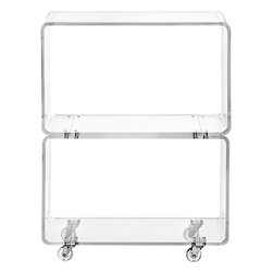 Peekaboo Clear Rolling Two Shelf - This is a more affordable acrylic bar cart option. It has a great modern feel and adds a sense of visual lightness to the room.