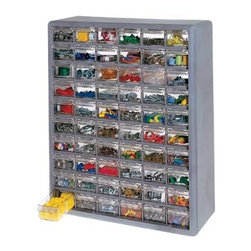 Stack-On Multi Drawer Storage Cabinet, 60 Drawer - Store buttons, grommets, small tools, clips, rings, sewing machine needles, bobbins, knobs, snaps, doohickeys, thingamabobs, screws, nails, tacks and any other little thing that needs its own spot. Clear drawers are a must!