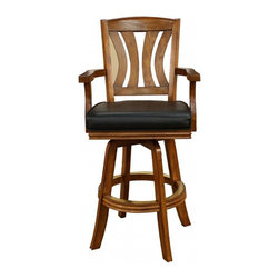 American Heritage - American Heritage Bradbury 30 Inch Barstool in Vintage Oak - The perfect stool to compliment your space. The wood slat back makes this a comfortable stool to sit in for hours. The classic armrest and decorative footrail will surely compliment any decor. What's included: Barstool (1).