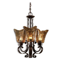 Uttermost - Uttermost Vetraio 3 Light Chandelier in Bronze - Heavy hand made glass is held in classic European iron works giving these pieces a contemporary quality, with strong traditional appeal as well.
