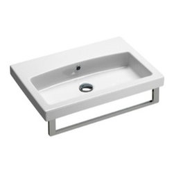 GSI - Simple White Ceramic Wall Mounted, Vessel, or Self Rimming Sink, One Faucet Hole - Simple and sleek wall mounted, vessel, or self rimming bathroom sink for your contemporary style bathroom. Made out of the highest quality white ceramic and finished in white. Sink includes overflow and has the option for no faucet holes, a single hole, or three holes. Made in Italy by GSI.