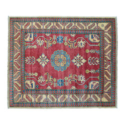 Oriental Rug, Tribal Design Kazak 100% Wool 4'X5' Hand Knotted Rug SH11385 - This collections consists of well known classical southwestern designs like Kazaks, Serapis, Herizs, Mamluks, Kilims, and Bokaras. These tribal motifs are very popular down in the South and especially out west.