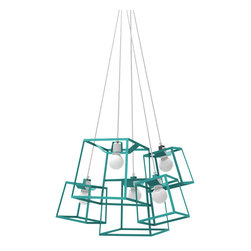 """Iacoli & McAllister - Five Piece Frame Cluster, Aqua - Call it the """"anti-chandelier."""" Five individual lights (three small and two medium) are combined in a single, striking fixture. Hard-wired installation keeps this modern quintet working as one. Ideal for the dining room, entry, stairwell — or anyplace that cries out for a creative lighting solution."""