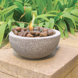 Deeco Rock Stone Tabletop Gel Fire Bowl - Ultra lightweight, the Deeco Rock Stone Tabletop Gel Fire Bowl will be an instant hit with guests. -Mantels Direct