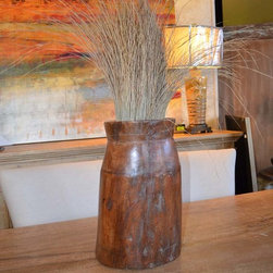 Eclectic Furniture for 2014 - Warm your contemporary space with this rustic wooden vase.