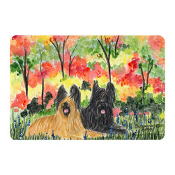 Caroline's Treasures - Briard Kitchen or Bath Mat 20 x 30 - Kitchen or Bath Comfort Floor Mat This mat is 20 inch by 30 inch. Comfort Mat / Carpet / Rug that is Made and Printed in the USA. A foam cushion is attached to the bottom of the mat for comfort when standing. The mat has been permanently dyed for moderate traffic. Durable and fade resistant. The back of the mat is rubber backed to keep the mat from slipping on a smooth floor. Use pressure and water from garden hose or power washer to clean the mat. Vacuuming only with the hard wood floor setting, as to not pull up the knap of the felt. Avoid soap or cleaner that produces suds when cleaning. It will be difficult to get the suds out of the mat.