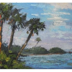 Tropical Glow by Carol Schiff (Original) by Carol Schiff - I was on the river on the east coast of Florida, just as the sun was sinking below the horizon.  The last rays of light were striking the trees and the sky had a beautiful watercolor cast.