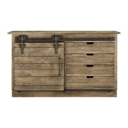 Higgins Sideboard - I kinda need this. Not only is the finish rugged and old world, but the sliding hinged door is amazing.