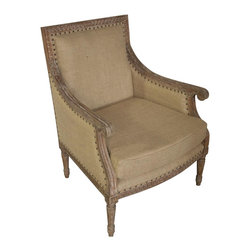 """Noir - Noir Isabelle Gray Wash Club Chair - Featuring natural, simple and classic designs, Noir products supply a timeless complement to a variety of interiors. A gracefully carved mindi hardwood frame has a vintage gray finish for antique appeal on the Isabelle club chair. Burlap upholstery accented with round nailhead trim creates a beautiful contrast that shines in living rooms.  28""""W x 27.5""""D x 37""""H."""