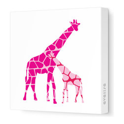 "Avalisa - Animal - Reticulated Giraffe Stretched Wall Art, 12"" x 12"", Pink Hue -"