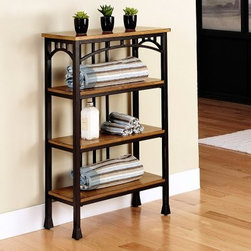 Home Styles Modern Craftsman 4-Tier Shelf - Oak / Brown - The Home Styles Modern Craftsman 4-Tier Shelf - Oak / Brown keeps to Owen Jones' famous maxim that ornament must be secondary to the thing decorated. Understatement and simplicity define this Craftsman Era-inspired shelving unit. The sturdy metal frame of bears a brown powder-coated finish accented with gold highlighting. This multifaceted storage shelf will meet all your storage needs, and will complement any bathroom. Each of the 4 shelves is 20.75 inches wide by 7.75 inches deep, so this unit can fit anywhere and does not intrude into the flow of traffic. Wood shelves are composed of beautiful distressed oak veneer. Levelers are integrated into the feet for enhanced stability.About Home StylesHome Styles is a manufacturer and distributor of RTA (ready to assemble) furniture perfectly suited to today's lifestyles. Blending attractive design with modern functionality, their furniture collections span many styles, from timeless traditional to cutting-edge contemporary. The great difference between Home Styles and many other RTA furniture manufacturers is that Home Styles' pieces feature hardwood construction and quality hardware that stand up to years of use. When shopping for convenient, durable items for the home, look to Home Styles. You'll appreciate the value.