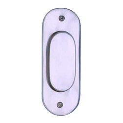 Renovators Supply - Door Pulls Chrome On Solid Brass Door Pull 5 1/16H - Pocket Door Pull. Oval pressed sliding door pull, sold individually. Comes complete with mounting screws. Measures 5 1/16 in. H.