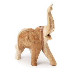 Rustic Wooden Handmade Sculpture - It's a sultry afternoon in the jungle, as a herd of elephants approaches the watering hole. As they drink their fill, they take turns keeping watch, and if one spies danger―they sound their emergency whistle!