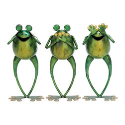 UMA Enterprises - UMA Enterprises Hear no Speak no See no Frog Garden Sculpture - Set of 3 Multico - Shop for Statues and Sculptures from Hayneedle.com! This sentiment translates into any language! The UMA Enterprises Hear no Speak no See no Frog Garden Sculpture - Set of 3 features a trio of charming frogs that add liveliness to your garden spot at any time of year. Large glass eyes and yellow accents make the look pop. These frogs stand upon foot-shaped bases.