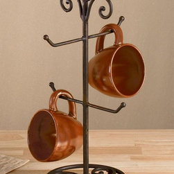"4 Arm Brown Metal Mug Stand, 17"" Tall, Vintage Kitchen Accessory - Display your best mugs with this unique, beautiful four arm mug stand while keeping counter-tops clutter free."