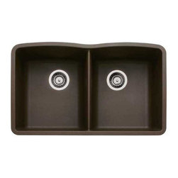 Blanco - BLANCO 440182 DIAMOND Undermount Equal Double Bowl Silgranit II - Café Brown - A classic style designed for the hardworking kitchen, this stylish double bowl fits into any decor.