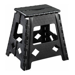 "ACMACM96014 - Stern Black Plastic Foldable Step Stool with Handle in the Top - Stern black plastic foldable step stool with handle in the top. Measures 16""H."