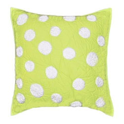 Cottage Home - Lime Green Dot Decorative Pillow - Beautifully constructed quilted pillow can be placed in any living area and bed room for maximum comfort and style. Quilted pillow features a beautiful embroidery white dots and reverses to a solid lime green back side with ties.