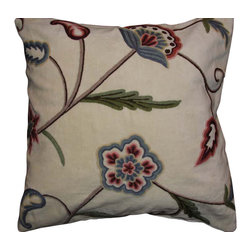Crewel Fabric World - Crewel Pillow Gulposh L Off White Cotton 20x20 Inches - Artisans in a remote mountain village in Kashmir crewel stitch these blossoms, vines and leaves by hand, resulting in a lush pattern of richly shaded wool yarns on Linen, Cotton, Velvet, Silk Organza, Jute. Also backed in natural linen, Cotton, Velvet Silk Organza, Jute with a hidden zipper.