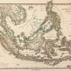 Consignment Antique Map of Indonesia, 1873 - Original antique map of the East Indies corresponding to today's southeast Asia, Philippines and Indonesia. Index of colonial possessions by color lower left. Shows mountains, rivers, ports, boundaries and towns. Steel engraving with handsome original hand-colored outlines from 1873.